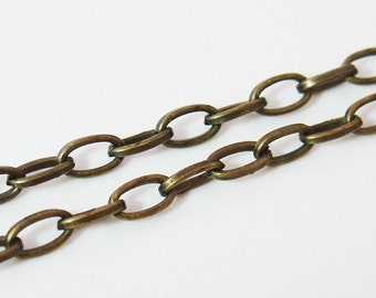 6mm x 4mm Antique Brass Colored Chain - 3 Feet - 0434-OXBR