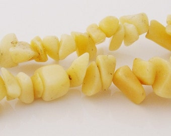 Semi-Precious Yellow Jade Chip Beads - 2x8 Inch Strands - 5005