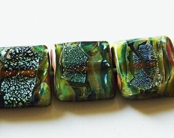 15.5mm Unicorne Lampwork Tile Bead - Royal Green Dichroic- 2 Pieces - 21353