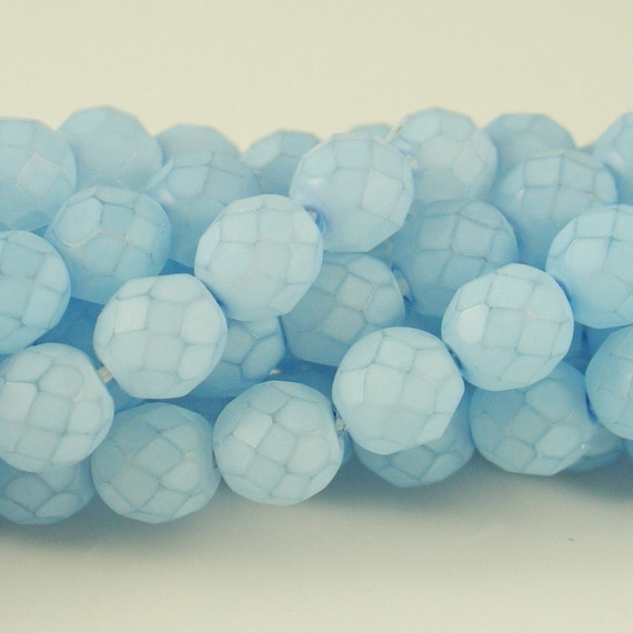 8mm Frosted Effect Light Blue Fire Polished Bead - 25 Pieces - 8703s