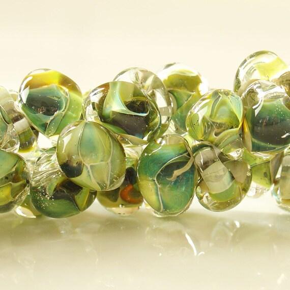 10mm Unicorne Tear Drop Lampwork Beads - Reptile Green - 4 Pieces - 21107