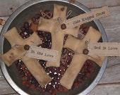 Set of 3 Primitive Olde Rugged Cross for Easter and Spring Bowl Fillers Ornies Tucks Religious Crosses God Is Love