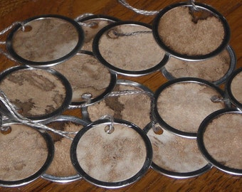 Primitive Metal Rimmed Hang Tags Gift Ties for Dollies Gifts DIY Scrapbooking Price Tags