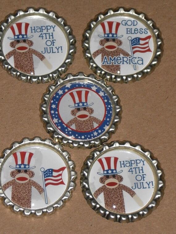 5 July 4 Finished Flattened Patriotic Americana Sock Monkeys Bottle Caps Scrapbooking Ornies Hairbows Zipper Pulls