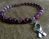 Custom one-color Cancer Awareness HOPE RIbbon Bracelet - You pick color and size