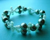 Teal manmade Pearl and woven seedbead Ladies OVARIAN Cancer Awareness Bracelet