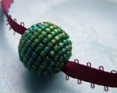 Mossy Teal Glass Beadwoven Seedbead and Merlot Ribbon Necklace