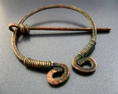 Celtic Brooch Pin for Scarf and Shawl - penannular Katsara Relic Circle Pin - verdigris patina finish