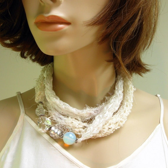 Infinity circle knitted necklace - Ring Around the Collar by Katsara