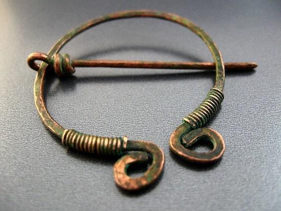 Set of 5 Celtic Brooch Pins for Scarf and Shawl - penannular Katsara Relic Circle Pin - verdigris patina finish - Reserved Listing