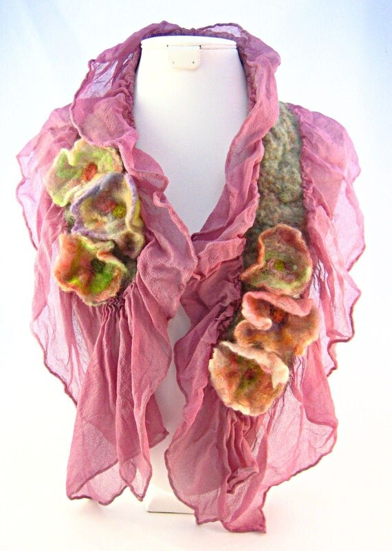 Felt Ruffle Blossom Scarf in Pink with nasturtium flowers or color of your choice