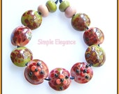 Simple Elegance pinks and olive flower glass beads handmade lampwork glass bead set