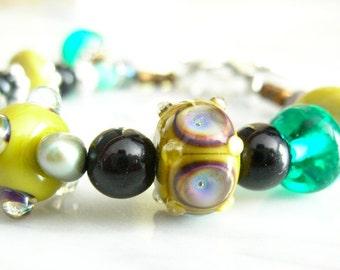 lampwork glass beaded bracelet Endless Oceans