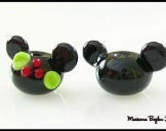 Mr. and  Mrs. Mouse under the Mistletoe, mickey mouse, minnie mouse, disney inspired glass beads  lampwork glass bead pair by Marianna