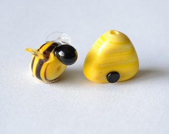 bumble Bee and Bee Hive 2 glass bead set...handmade lampwork glass beads by Marianna