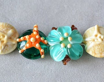 The Seashore...glass starfish flowers sand dollars bead mix handmade lampwork glass beads by Marianna