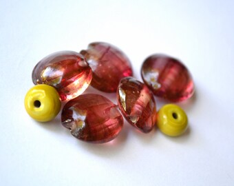 cranberry twist pink and green glass...Handmade lampwork glass beads by Marianna