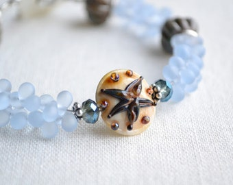Ocean wonder lampwork glass beaded starfish focal bracelet...lampwork glass beads by Marianna