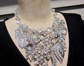 RESERVED Vintage Rhinestone Necklace,Wedding Necklace, Bib Necklace  - The Empress Tsarina