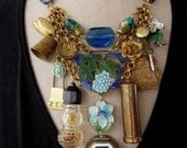 Vintage Necklace, Charms, Bib Necklace - Vanity Fair in Blue