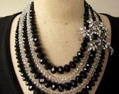 RESERVED Vintage Necklace, Crystal Necklace, Rhinestone - Flower Burst