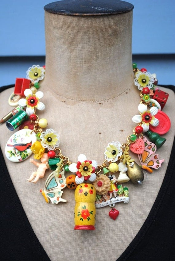 PRICE REDUCTION Toy Story - A Vintage Toy and Flower Necklace