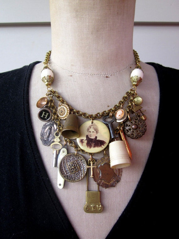 3 Home Decor Trends For Spring Brittany Stager: Items Similar To RESERVED Vintage Charm Necklace, Bib