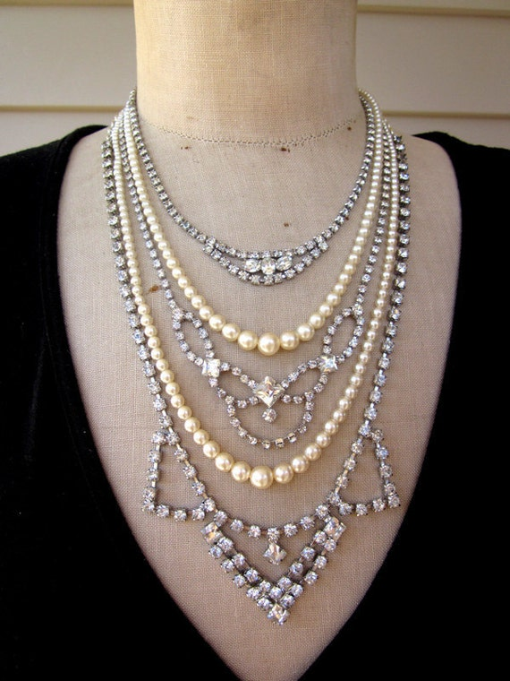 SALE Vintage Pearl Rhinestone Wedding Necklace Assemblage - Princess Grace