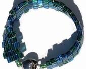 Aqua Heart Beaded Bracelet