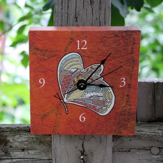 butterfly desk clock (orange)
