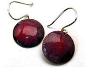 IN LOVE Red and Mauve, Enamel Earrings, Medium Round Discs on Handmade Sterling Silver Wires