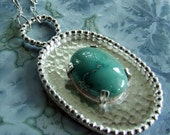 Sterling Silver Blue Turquoise Necklace - Large Hammered Metal Oval Pendant - One of a Kind Artisan Jewelry