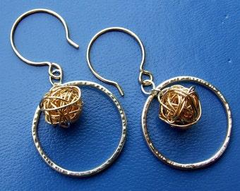 SALE - Gold Yarn ball Tumbleweed Earrings with Sterling Silver Hammered Metal Hoops