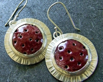Cranberry Red JETSON EARRINGS - Handmade Enamel and Sterling Silver - One of a Kind Artisan Jewelry Fine Metal Statement Jewelry Holiday