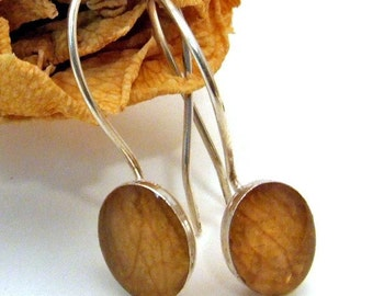 YELLOW ROSE Petal Earrings Oval - Resin and Sterling Silver on Posts or Wires - Woodland Nature Jewelry from the Captured Collection