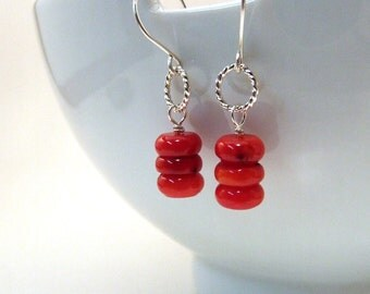 SALE - Red Bamboo Coral Earrings with Braided Stering Silver Hoops on Handmade Dangly Earwires - Gift Under 40