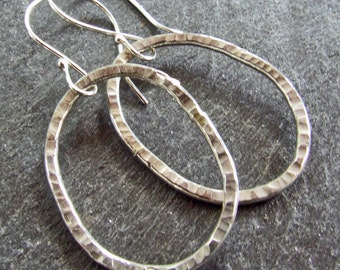 Sterling Silver HAMMERED HOOP Earrings Handmade Large Modern Oblong Textured 925 Metal Artisan Statement Jewelry