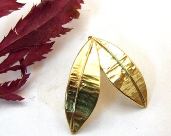 SALE - GOLDEN LEAVES - 14 Karat Gold Post Earrings Handmade in Solid Gold  - Last Pair - Artisan Nature Jewelry Design