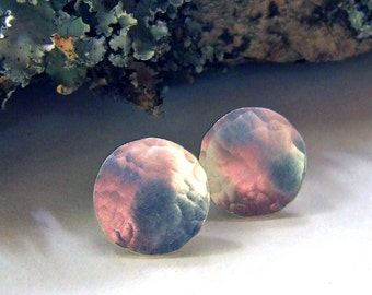 Sterling Silver Hammered Post Earrings - Shimmery Silver Concave Studs on 5/8 inch Round Discs - Artisan Jewelry