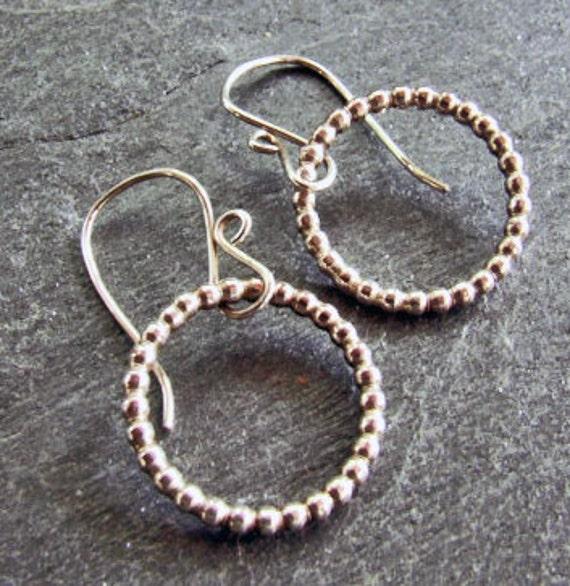 LAST PAIR - Sterling Silver Bead Wire Simple Chic Hoop Earrings - Medium Circles on Handmade Dangly Wires, Rustic Artisan Fine Metal Jewelry