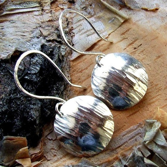 SILVER BARK Textured Hammered Sterling Silver Earrings, Handmade Nature Artisan Jewelry - Round Discs on Handamde Sterling Silver Wires