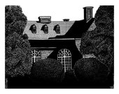 Mansion drawn in ink, Print