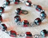 Deep Red Linked Bracelet