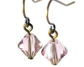 June Birthstone - Light Amethyst Diamond Crystal Dangles