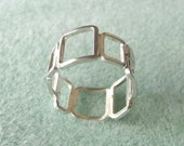 Freeform Silver Squares Ring - Made to Order