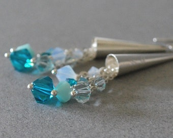 Blue Zircon Cluster Dangle Earrings