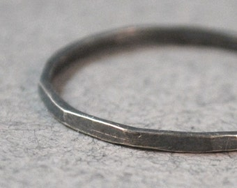 Le Petit Noir Faceted Ring Custom Size 1mm Thin Little Dark Black Oxidized Ring with Patina Sterling Silver
