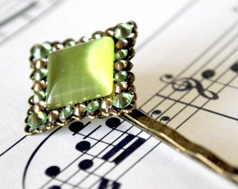 Olivine Green Cat's Eye and Crystal Hair Pin