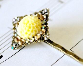 Yellow Chrysanthemum and Crystals Hair Pin