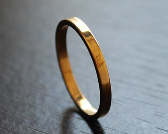 2mm Wedding Band in 14K Gold Made to Order custom Size Shiny Finish Stackable Wedding Ring